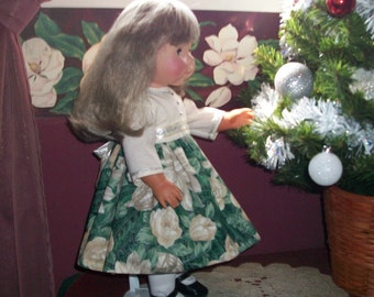 "Christmas in July Dress In Gorgous Floral with Ivory Bodice fits 18"" dolls"