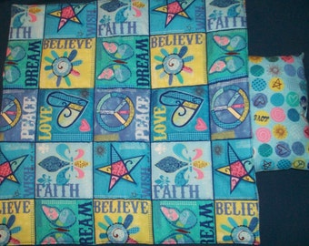 Quilt and pillow for 18inch doll  Faith, Love, & Peace Signs in blue