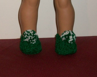 Fits 18inch dolls - Doll Slippers in Kelly Green