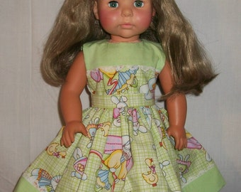 American Made 18inch Doll - Lime Green and Easter Print Dress fits AG and others like her