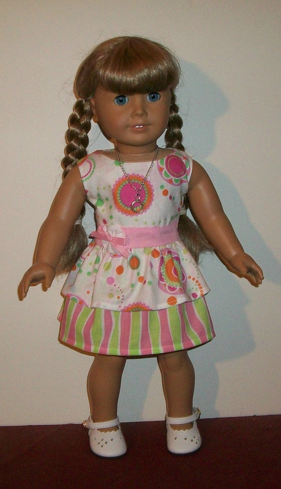 18inch Doll - 2 Pc Pink and Lime Ruffled Mini Skirt Dress