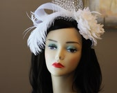 Light Ivory Floral Fascinator with Russian Tulle, Ostrich Feather, The Giselle Fascinator