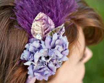 Vintage Flower & Ostrich Feather Headband, The Iris Headband