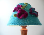 Blue Lampshade Cozy with Purple Felted Flowers