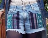 Upcycled Denim LEVI Jean Shorts M Waist M