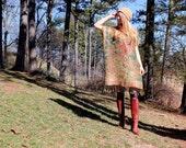 Caftan Dress Boho Gypsy Kaftan Fringe Bohemian Hippie Style One Size Lightweight Silk & Cashmere Red Green Gold