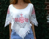 Upcycled Vintage HIPPIE BOHO Capelet Top With Cross Stitch and Fringe S M