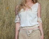 Vintage Victorian Lace Camisole Tank Top in Natural Cotton . Adjustable . Upcycled . M L