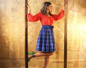 Vintage 70's  Dress MINI Peasant Bohemian 4 6 OOAK Small to Medium Upcycled