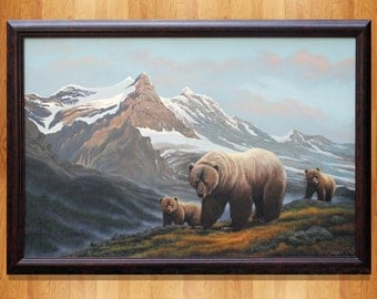 Large Original Fine Art Painting Alaskan Landscape Wildlife Grizzly Bear with Cubs  24 x 36