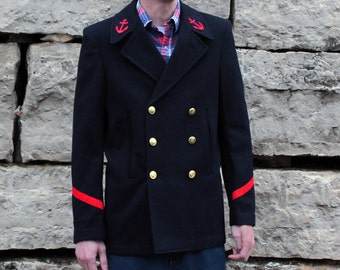 Pea Coat Upcycled Vintage French Navy in Wool with Pin Up Girl Scene Unique OOAK Mens Small to Medium