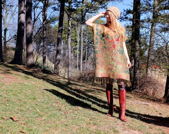 SALE Boho Gypsy Kaftan Caftan Dress Fringe Bohemian Hippie Style One Size Lightweight Silk & Cashmere Red Green Gold