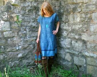 Light Weight Silk & Cashmere Boho Chic Gypsy Kaftan Dress with Fringe One Size Fits All OSFA Handmade