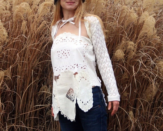 Gypsum Flower Grotto Tank Top in White Cotton and Linen S M L