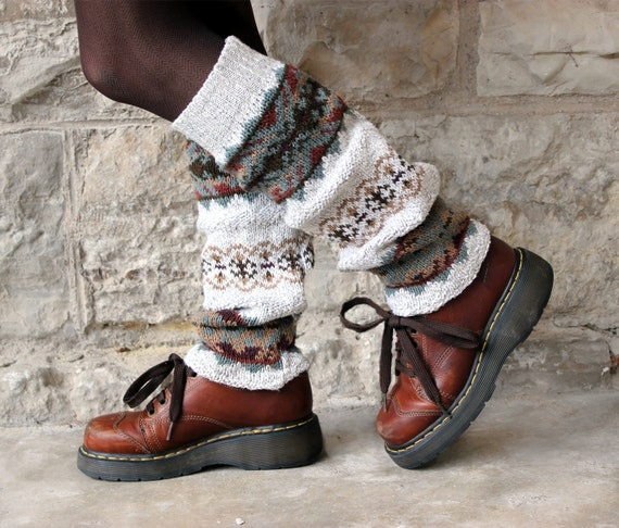 Upcycled Sweater Leg Warmers Knee High ALPINE Cotton