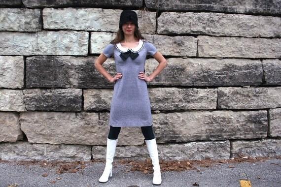 MOD Babydoll Twiggy Dress Peter Pan Collar S XS 1960s Handmade Original