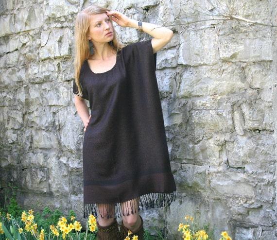 Silk & Cashmere Gypsy Kaftan Dress with Fringe Boho Style One Size