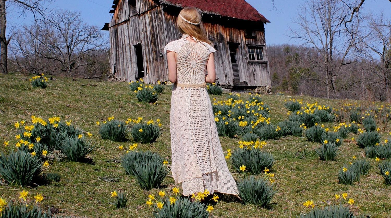 OOAK Wedding Dress Upcycled Vintage Cotton Doilies Handmade