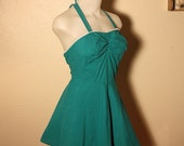 PINUP GIRL 1940's Crisp Teal Green Cotton Swimsuit Playsuit Romper w/ Flirty Skirt Design - 3 Way Straps - VLV - Rockabilly - Size M