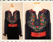 Rare PRISTINE 1940's Navy Blue Sheer Silk Chiffon Hand Embroidered Floral Hungarian Ethnic Peasant Blouse - VLV - Rockabilly - Size L to XXL