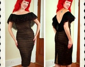 CHA CHA 1950's Sheer Black Ruched Nylon & Lace Over Nude Satin Hourglass Cocktail Dress w/ Huge Ruffled Off Shoulder Collar - Low Back - M
