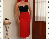 LIPSTICK RED 1940's Rayon Gabardine High Waisted Straight Pencil Skirt w/ Front Cut-Out - Side Metal Zipper - Mint - Swing - VLV - Size M