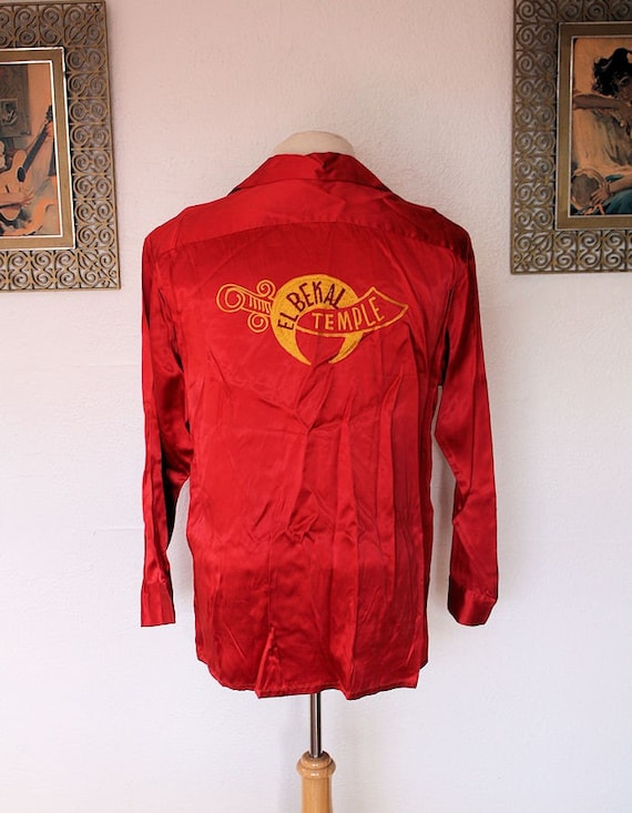 SHRINERS Red Satin 1940's 1950's El Bekal Temple Embroidered Bowling Shirt - Made by Bowler's Shirt & Uniform Los Angeles - VLV - Size XL