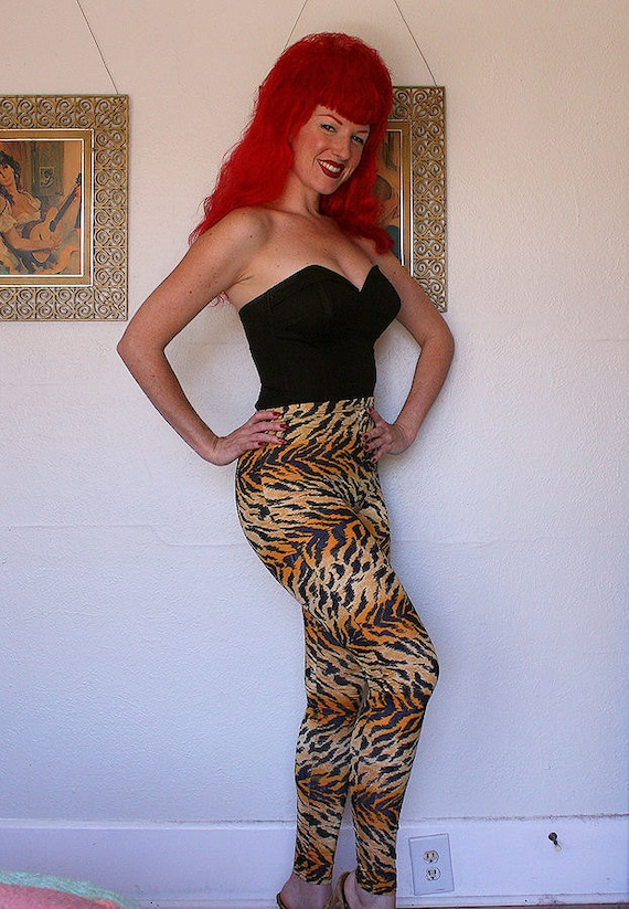 DEADSTOCK 1960's Tiger Print High Waisted Bad Girl Pants - Skin Tight and Stretchy - Rockabilly JD - Pinup Bad Girl - Psychobilly - Never Worn Old Store Stock - Size S to M