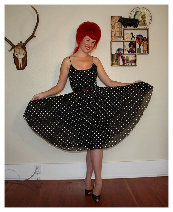 FLIRTY 1950's Polkadot Sheer Cotton Voile Party Dress w/ Tiered Ruffle Skirt - Satin Tie Belt - Satin Lined - VLV - Rockabilly - Size S to M