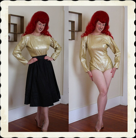 RARE 1950's Killer Gold Stretch Lame' One Piece Body Suit - Well Made - Back Zipper - Costume Burlesque - Holiday - VLV - Size L to XL