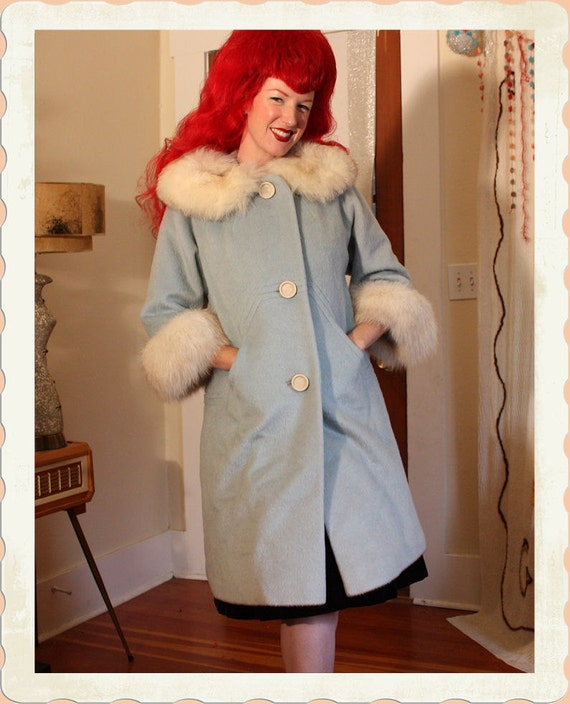 GORGEOUS 1950's Powdery Baby Blue Wool Dress Coat with Luxurious White Fox Fur Collar & Cuffs by Lou Green Original - Pockets - Size M to L