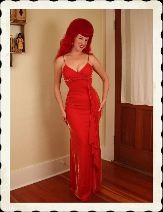 THE BEST 1950's Style Red Rayon Lurex Long Bias Cut Hourglass Glamour Gown - Shelf Bust / Built In Bra - VLV - Bombshell - Rare - Size M