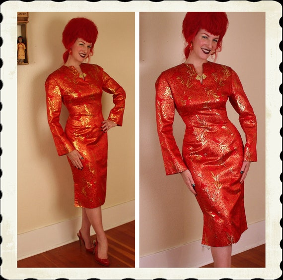 STUNNING 1940's Red Silk w/ Metallic Gold Brocade Asian Inspired Hourglass Cocktail Dress - Shoulder Padding - Pristine - VLV - Size L