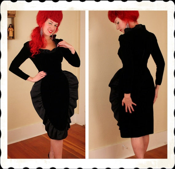 KILLER Couture 1950's Silk Velvet Hourglass Wasp Waist Cocktail Dress w Huge Silk Satin Ruffle Fin Detailing by Jill Richards - VLV - Size M