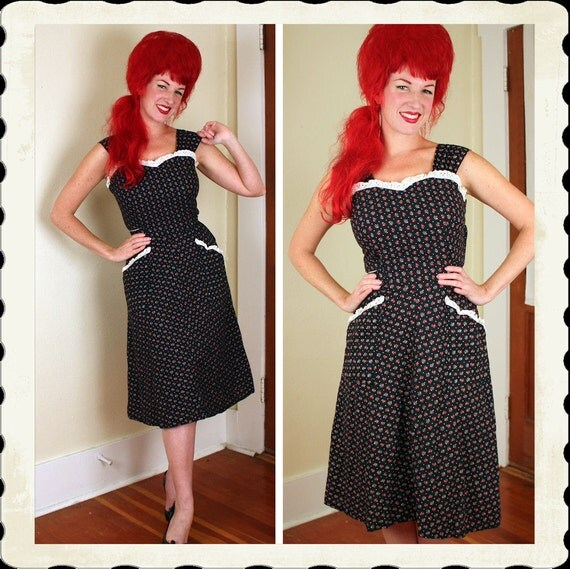 ADORABLE 1940's Inky Black Crisp Cotton Day Dress w/ Strawberry Novelty Print & Eyelet Trim - Pockets and Tie Belt - VLV - Size M to L