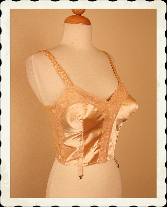 DEADSTOCK w/ Tags Pale Peachy Silk Satin 1950's Bullet Bra Camisole Top w/ Garter Hooks by Lilees by Lily of France - Pinup - Size 38 Bust