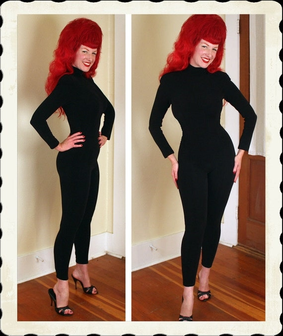 KILLER Designer 1980's Hourglass Inky Black Jumpsuit or Catsuit by Tadashi - Bad Girl Bombshell - Beat Girl - VLV - Size XS, S, to M