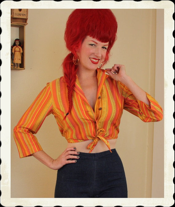 TIKI Time 1950's Rich & Vibrant Polished Cotton Cropped Midriff Tie Front Blouse w/ Native Savage Print - VLV - Exotic Pinup - Size M