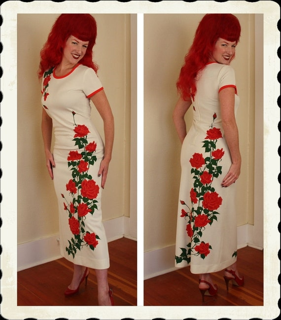 RESERVED 1970's Hawaiian Designer Long Hourglass Maxi Dress w/ Red Cascading Roses Motif by Alfred Shaheen - Curvy - Rare - Size M to L