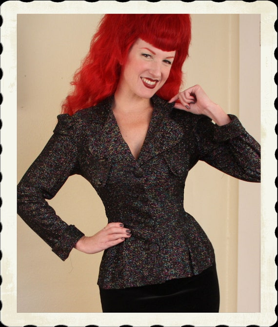 New Look 1940's Style Rainbow Multicolored Lurex Hourglass Detailed Suit Jacket w/ Pleated Peplum Design - VLV - Rare - Plus Size XL to XXL