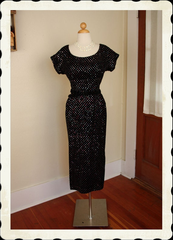RESERVED 1950's Inky Black Silk Velvet Hourglass Cocktail Dress w Multicolored Glitter Polka Dots All Over - Matching Belt - Size Tall L