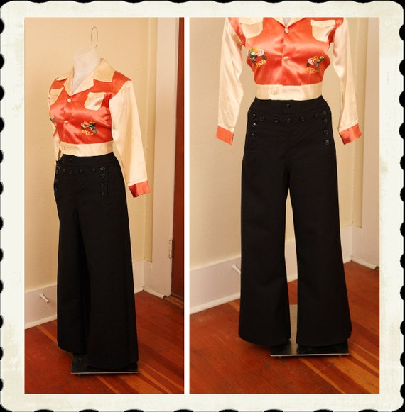 MINT 1940's Inky Black Wool U.S. Navy High Waisted Wide Legged Pants - Front Buttons & Lace Up Back - Size M Short