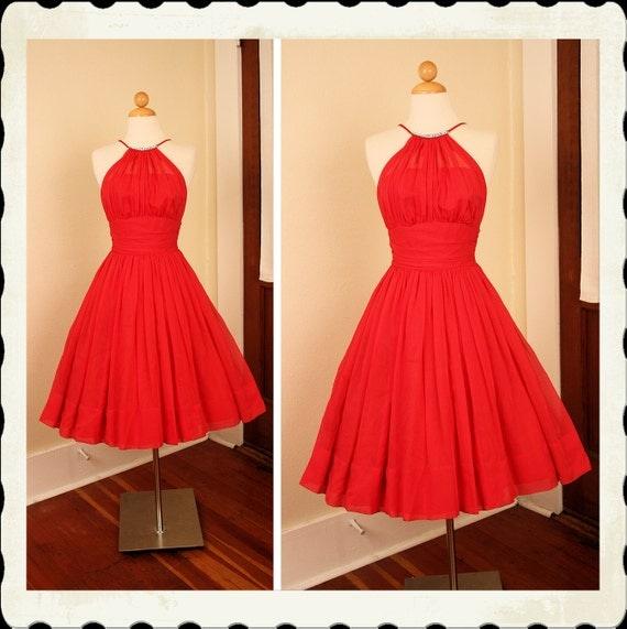 KILLER Designer 1950's New Look Rich Red Chiffon Party Dress w Rhinestone Neckline by Edith Flagg - Illusion Shelf Bust - Rare VLV - Size S
