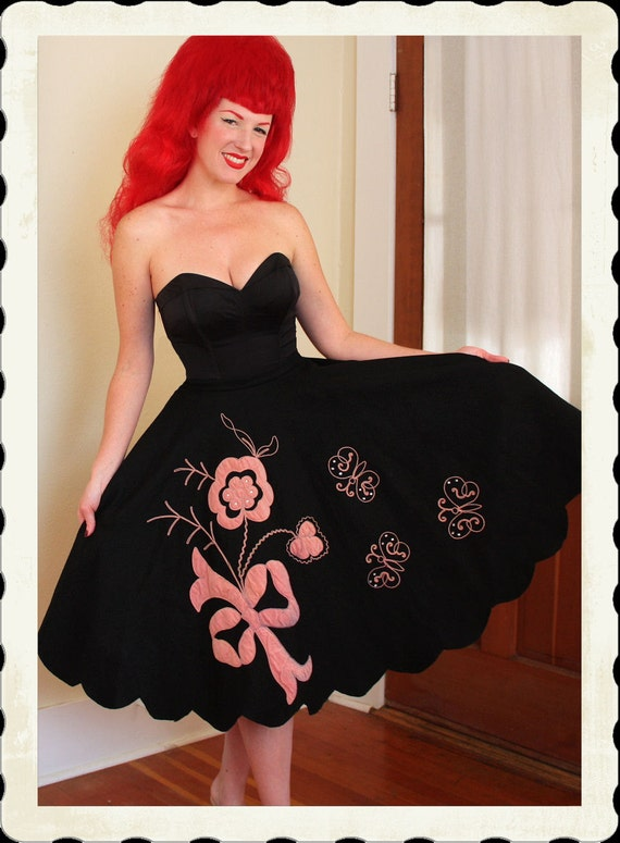 DARLING 1950's Inky Black Wool Felt Circle Skirt w/ Pink Velvet Bow, Flowers & Butterlies Appliques by Junior Time - Rhinestones - Size M
