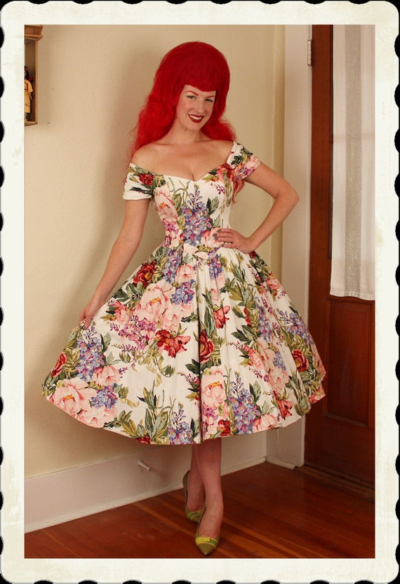 STUNNING 1950's Style New Look Crisp Cotton Romantic Floral Off-Shoulder Party Dress - Elastic Back Ruching - So Dior - Mint - Size S to M