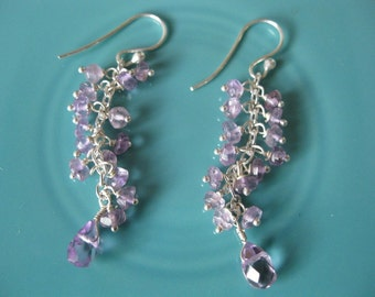 Handbeaded AMETHYST and STERLING SILVER earrings