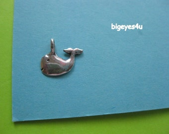 Tiny WHALE charm STERLING SILVER