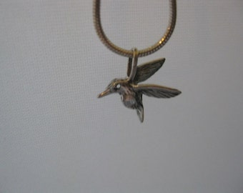 2 tiny hummingbirds  Sterling Silver
