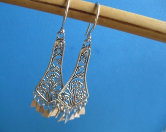 Fabulous Filigree  STERLING SILVER chandelier earrings