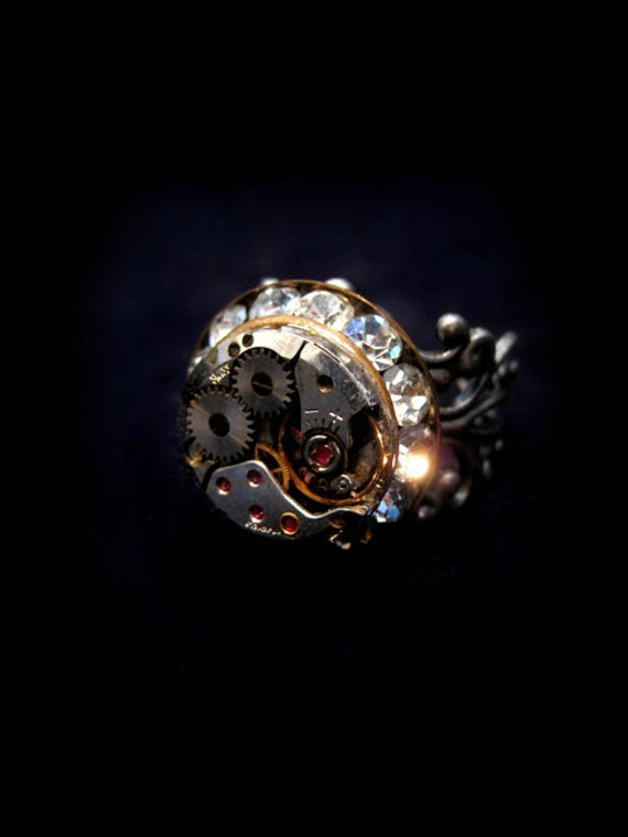 Crystals and Rubies - Ring by Award - Winning Fae Factory Steampunk Chic Eco Artist, Dr Franky Dolan (Original watch movement jewelry art)